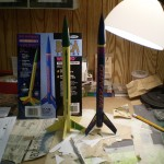 Construction of the   Viking and Wizard model rockets in the Hawker Hobbies studio.
